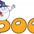 Ghost Wearing Witch Hat In Word BOO — Stock Photo #8244556