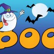 Ghost Wearing Witch Hat In Word BOO — Stock Photo #8244569