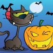 Black Cat And Winking Halloween Jackolantern Pumpkin - Stockfoto