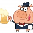 Waiter Pig With Beer - 图库照片