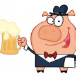 Waiter Pig With Beer - Stockfoto