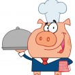 Waiter Pig In A Chefs Hat, Serving Food On A Platter - 图库照片