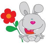 Happy Bunny Holds Flower — Stock Photo