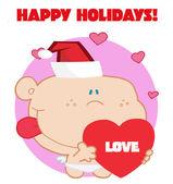 Cupid met rode liefde hart met gelukkige vakantie teken — Stockfoto
