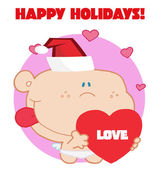 Cupidon avec coeur amour rouge avec signe de joyeuses fêtes — Photo