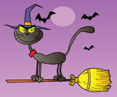 Halloween Witch Cat On A Broomstick Over Purple — Stock Photo