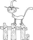 Bir çitin üstünde kedi cadı özetlenen — Stok fotoğraf