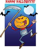 Happy halloween över en grinande fågelskrämma reaper med lie — Stockfoto
