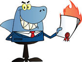 Shark Salesman Holding A Bad Contract In His Hand — Stock Photo