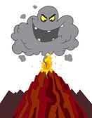 Nuvem de cinzas mal acima de um vulcão em erupção — Fotografia Stock