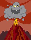 Utbrott av vulkan med ett svart moln — Stockfoto