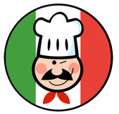 Chef Face Over An Italian Flag Circle — Stock Photo