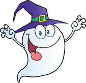 Scaring Ghost Holding His Hands Up And Wearing A Witch Hat — Stock Photo