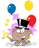 Black New Year Baby With A Top Hat Sparkler And Party Balloons — Stock Photo