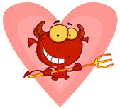 Devily Guy Holding A Pitchfork In Front Of A Heart — Stock Photo