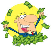 Happy Salesman Playing In A Pile Of Money — Stock Photo