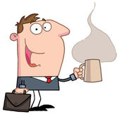 Businessman holds cup of coffee — Stock Photo