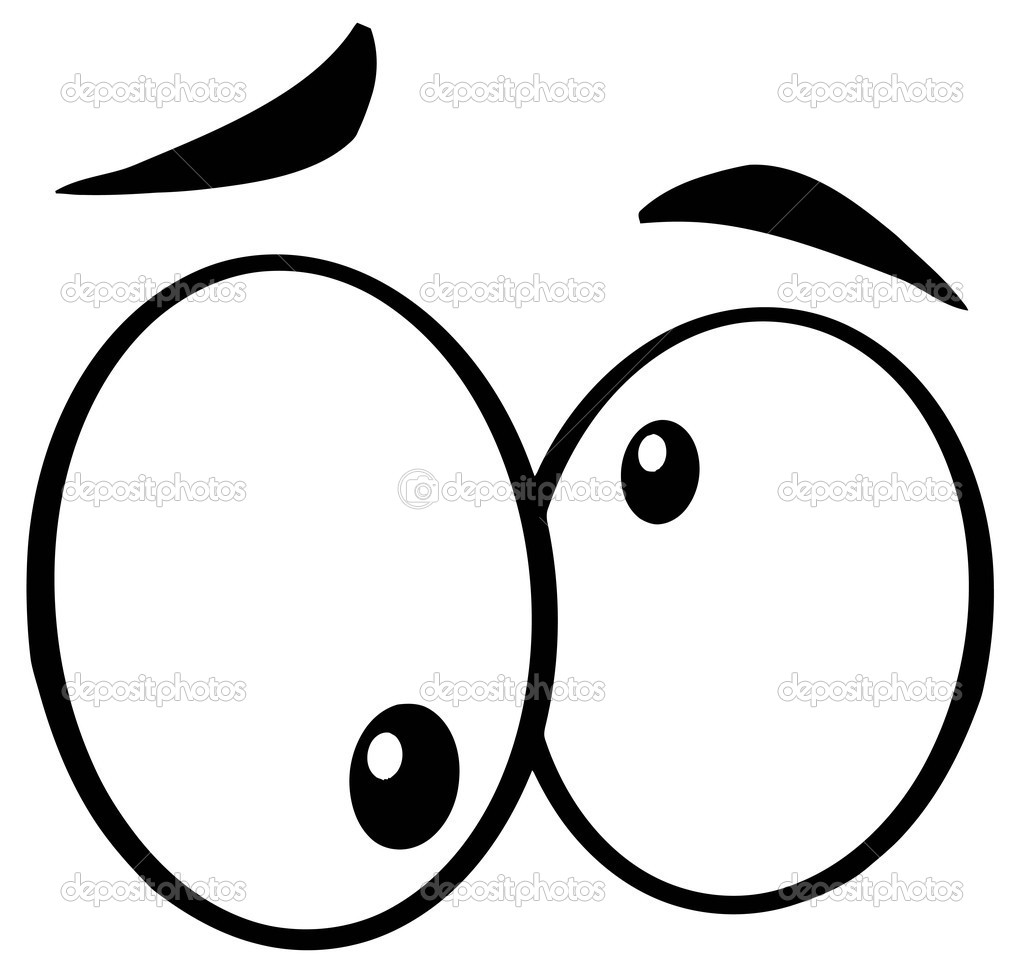 Outlined crazy cartoon eyes stock image