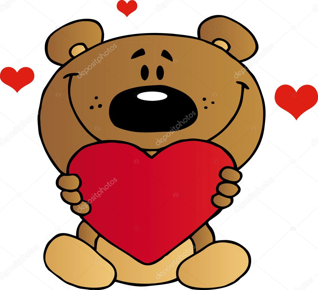 Teddy Bear Holding A Red Heart — Stock Photo © HitToon #8343397