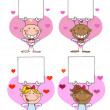 Stockfoto: Happy Stick Cupids Holding Banner