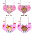 图库照片: Happy Stick Cupids Holding Banner
