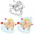 Cute Cupid with Bow and Arrow Flying in Cloud - Stockfoto