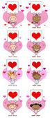 Amorini bastone tenendo un banner con cuore — Foto Stock