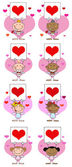 Stick cupids håller en banderoll med hjärta — Stockfoto