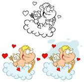 Cute Cupid with Bow and Arrow Flying in Cloud — Stockfoto