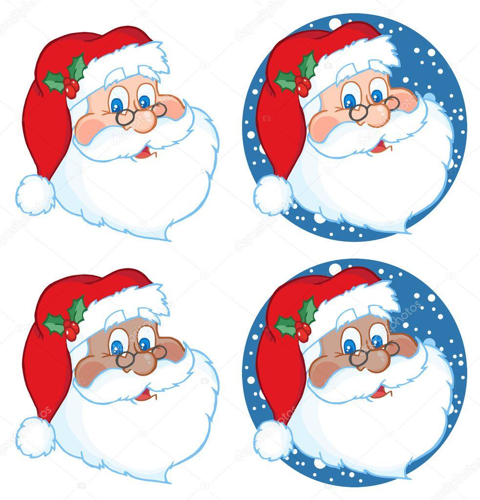 Santa Claus Face Outline Classic santa claus head