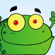 Frog Gesturing The Peace Sign With His Hand — Stock Photo #8512691