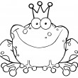 Outlined Frog Prince Cartoon Character — Stock Photo