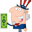 Stock Photo: Uncle Sam Holding Tax Dollars