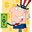 Happy Uncle Sam With Holding A Dollar Bill — Stock Photo