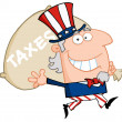 Uncle Sam Runs And Carries A Bag — Stock Photo