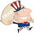 Stock Photo: Uncle Sam Runs And Carries Bag
