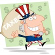 Stock Photo: Uncle Sam Carrying Taxes Bag