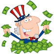 Uncle Sam Playing In A Pile Of Money — Stockfoto