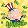 Stock Photo: Rich Uncle Sam Playing In Pile Of Money