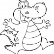 Stock Photo: Outlined Happy Alligator