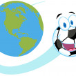 Soccer Ball Fly Around The Globe — Stock Photo