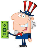 Uncle Sam Holding Tax Dollars — Stock Photo