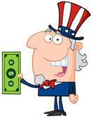 Uncle Sam Holding Tax Dollars — Stock Photo