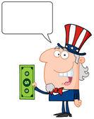アンクルサムの税ドルを持って話しています。 — ストック写真