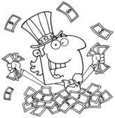 Delineato lo zio sam giocando in un mucchio di soldi — Foto Stock