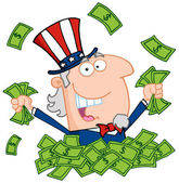 Uncle Sam Playing In A Pile Of Money — Stock Photo