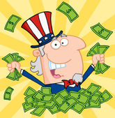 Rich Uncle Sam Playing In A Pile Of Money — Stock Photo