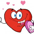 Stock Photo: Valentine Heart Character Holding Rose And Candy