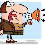 naštvaný obchodní žena křičí přes megafon — Stock fotografie