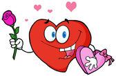 Valentine Heart Character Holding A Rose And Candy — Stock Photo